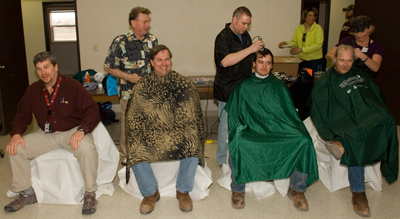 Getting their heads shaved for childhood cancer research