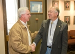 Basin Electric CEO Ron Harper greets Sec. of the Interior Ken Salazar