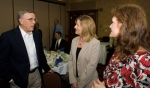Sen. Byron Dorgan (D-ND) greets Sheryl Massey (center), Basin Electricgovernment relations coordinator, and Marci Schorsch (right), Basin Electric Political Action Committee fund representative.