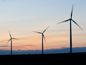 Wilton Wind Project at sunset