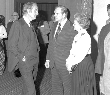 1977: U.S. Senator George McGovern visits with Art and Grace Link at Basin Electric Annual Meeting.