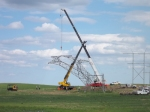 TSM crews set a new tower to replace one destroyed by a tornado on May 22.