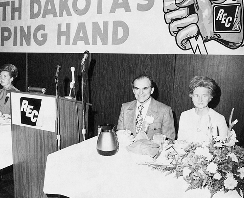 1973: Link wrote part of his famous speech about strip mining while he and Grace awaited his introduction at the ND Association of Rural Electric Cooperatives meeting. (Photo courtesy: North Dakota REC Magazine)