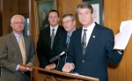 (l to r): Ron Harper of Basin Electric, David Straley of North American Coal, John Dwyer of the Lignite Energy Council, Attorney General Wayne Stenehjem.