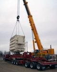 Transformer is lowered onto its new pad at Watford City.