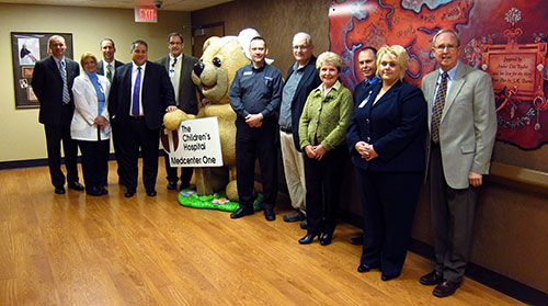 (From left) Fred Fridley, Sanford Health; Randi Schaeffer, Sanford Health; Mike Eggl, Basin Electric; Andrew M. Serri, Basin Electric; Tom Petrik, Sanford Health Foundation; Kevin Strege, Bremer Bank; Todd Dixon, Tesoro; Claudia Thompson; Dr. Craig Lambrecht, Sanford; Kristi Schmidt, Sanford Health Foundation; and Mark Thompson.