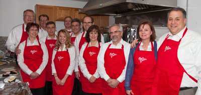 Several Basin Electric senior management and staff, along with a few of their spouses, helped serve Valentine's Day lunch.