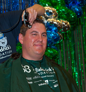 Shavee Milt Aus was the highest individual fundraiser at the 2013 Brave the Shave St. Baldrick's event, held March 15 in Bismarck, ND.