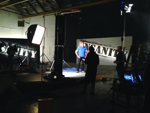 Jeremy Woeste on Insanity set