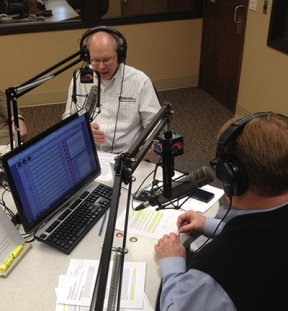 Basin Electric's Steve Tomac (left) discusses a transmission line in western North Dakota with News and Views host Joel Heitkamp. Mary Miller and Curt Pearson of Basin Electric also joined Tomac in the studio.
