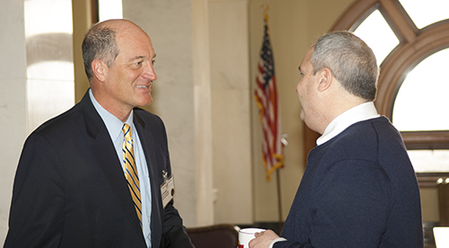 SDREA General Manager Ed Anderson shares a word with Sen. Dan Lederman (R-SD) during Co-op Day at the state capitol.