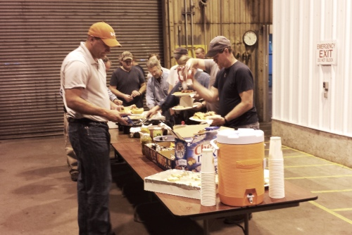 Leland Old Employees dishing up at the Military Appreciation BBQ