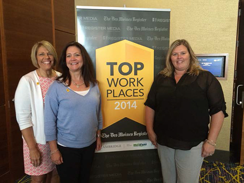 "Iowa Lakes employees (from left) Pam Caboth, executive assistant, Tresa Hussong, vice president of customer and corporate relations, and Kristin Hanson, manager of human resources, attended a recognition luncheon to accept the ""Top Workplaces"" award."