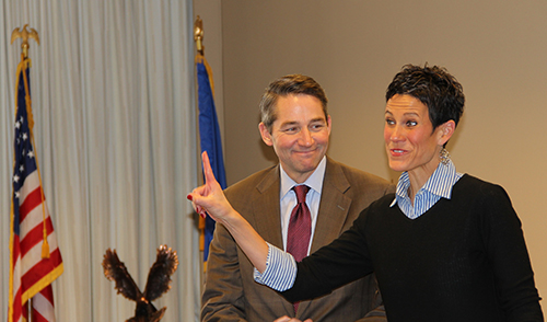 Lt. Gov. Drew Wrigley and his wife, Kathleen Wrigley, speak at Basin Electric Headquarters Nov. 19.