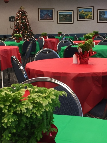 The Headquarters cafeteria takes on a festive flare, thanks to the decorating skills of the food services team.