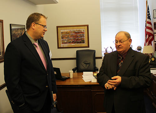 Brian Jeremiason, Lyon-Lincoln Electric Cooperative, talks with Sen. Gary Dahms at MN Co-op Day at the Capitol.