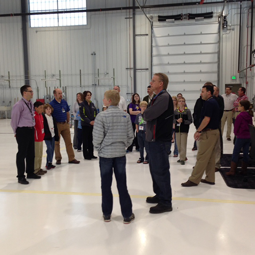 Employees and their kids check out Basin Electric's hangar April 30.