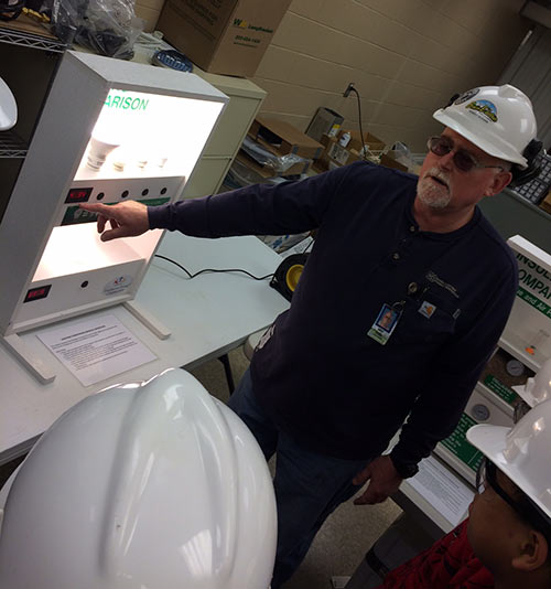 Robert Scogins, Basin Electric operations/maintenance supervisor at Culbertson, leads part of the tour.