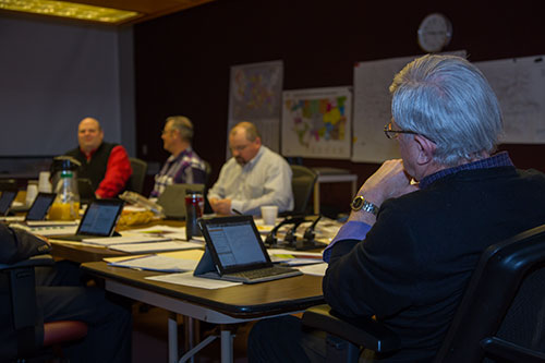 Allen Thiessen, running Lower Yellowstone Rural Electric Association's board meeting.