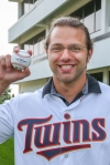 Will Hangsleben, real time trader II, with the baseball he threw at the May 16 Minnesota Twins game.