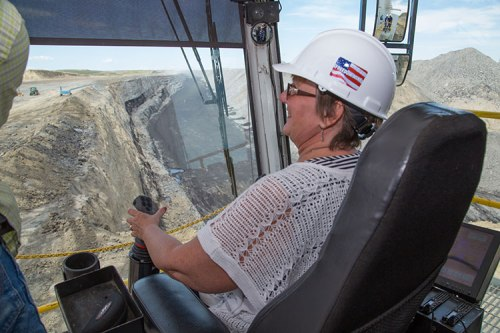 Sen. Terri Haverly, R-District 35, South Dakota Senate, had an opportunity to sit in the seat of the dragline operator at the Freedom Mine while the dragline was down for maintenance.