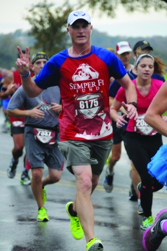 Jamie Schindler, Laramie River Station control room operator, ran in the Marine Corps Marathon to raise money for the Semper Fi Fund, which supports young wounded veterans of all military branches.