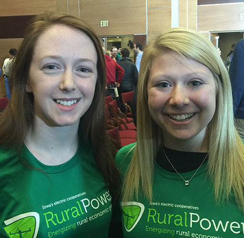 Rebecca Boyer and Emily Schwickerath, Youth Tour veterans and Iowa Rural Power advocates. Boyer is a member of Iowa Lakes Electric Cooperative, a Class C member of Basin Electric