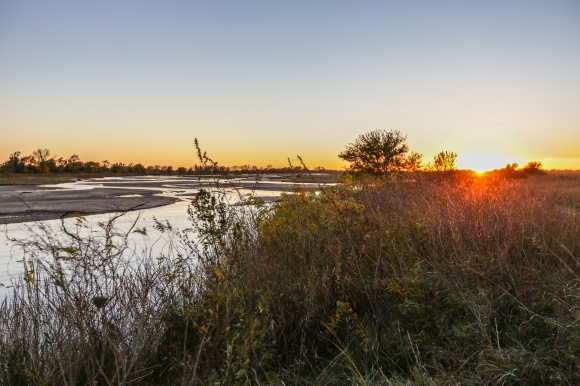 sunset over the Platte River