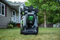 The thin storage of the all-electric lawn mower.